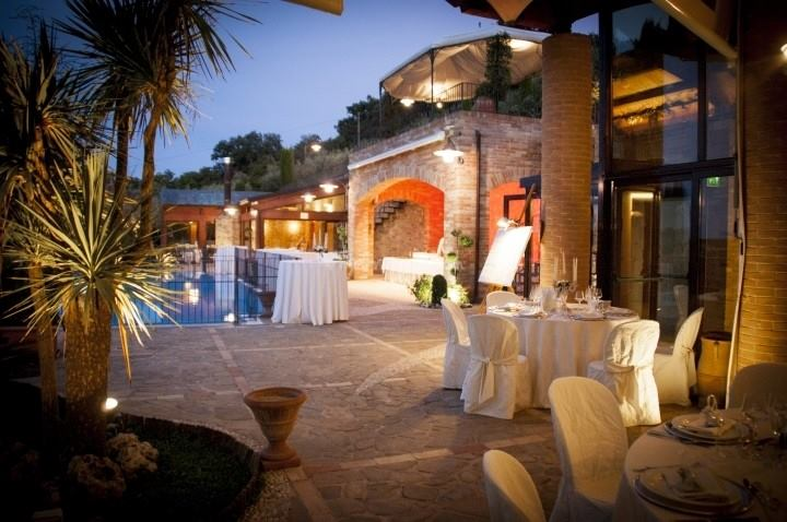 Colored lights framing your wedding in villa